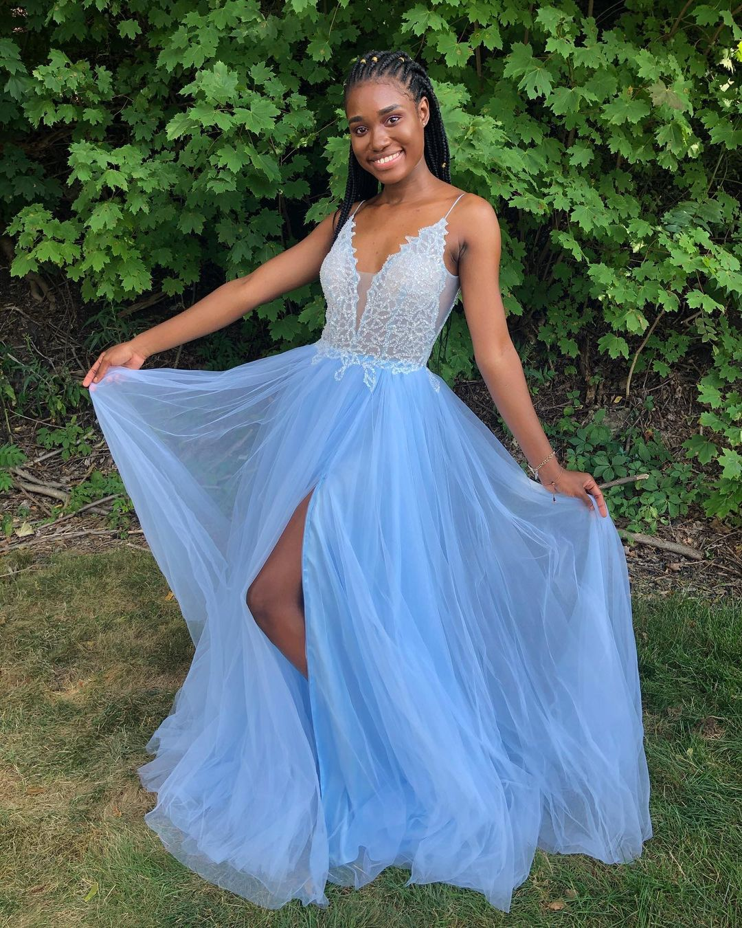 Blue Prom Dress,A-Line Prom Gown,Tulle Evening Dress,Spaghetti Straps Prom Gown
