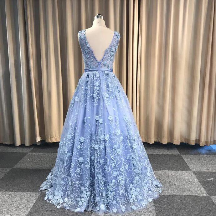 Beautiful Blue Floral V-neckline Party Dress, Charming Blue Prom Dress 2021