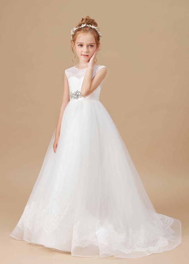 Flower Girl Dresses, Mesh Princess Dress New Girls Dress Appliques Lace Sweet