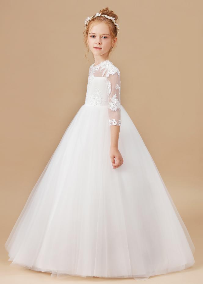 Flower Girl Dresses, Girls Appliques Dress White Wedding Children Clothing