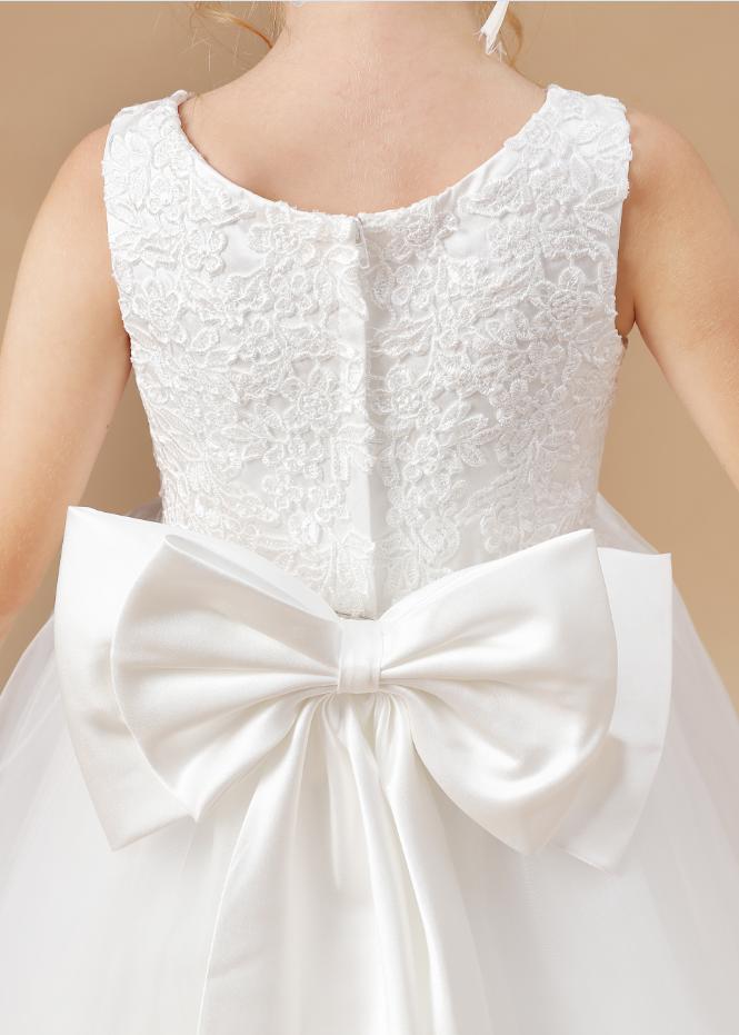 Flower Girl Dresses,Elegant Flower Girl Dresses Applique Sleeveless Cascading