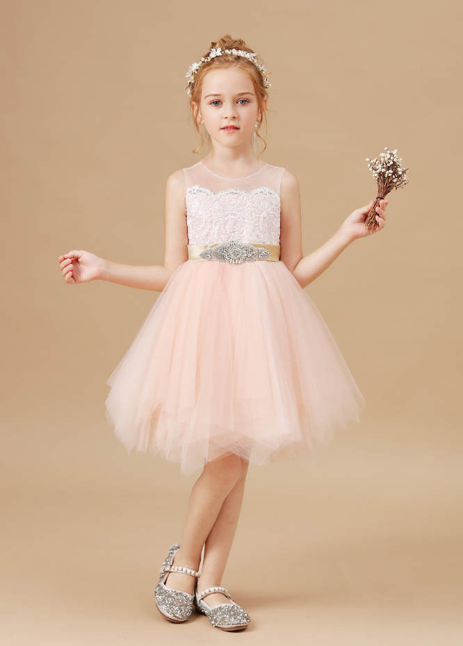 Flower Girl Dresses,Kids Dresses For Girls Christmas Clothes Lace Decal Party