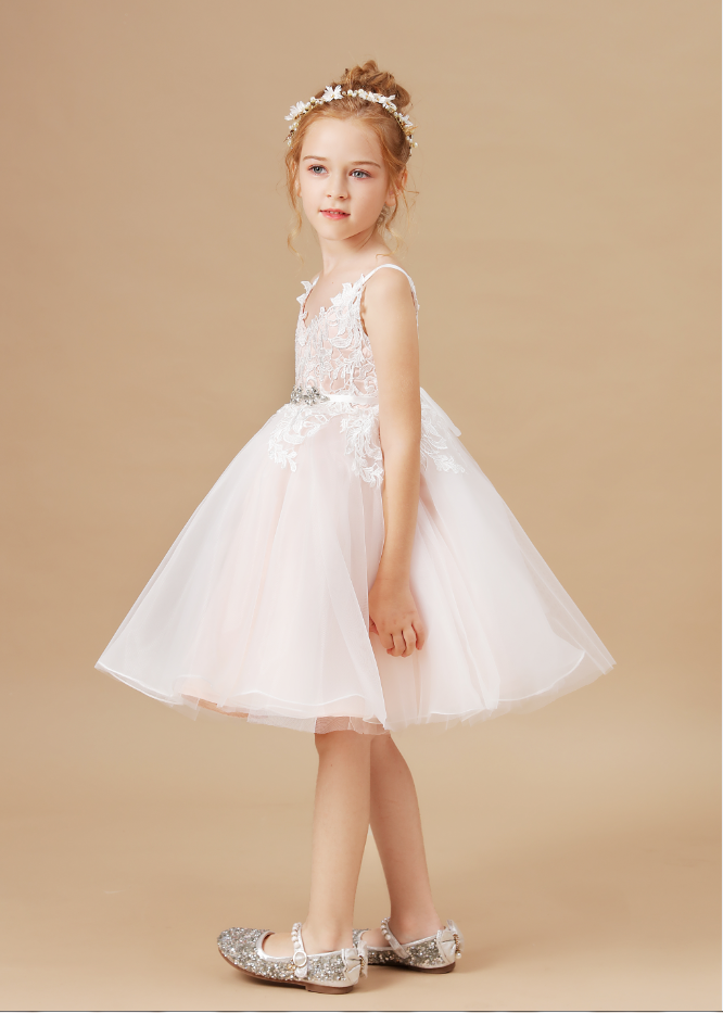 Flower Girl Dresses,New Girls Dress Flowers Lace Dress Fashion Girls Round Neck
