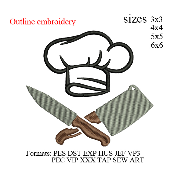 Chef hat and knives kitchen chef embroidery design,Kitchen hat Embroidery