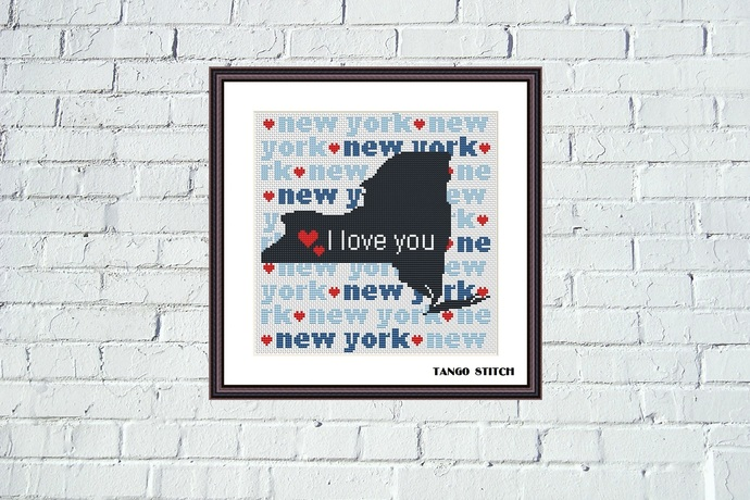 New York state map silhouette typography cross stitch pattern