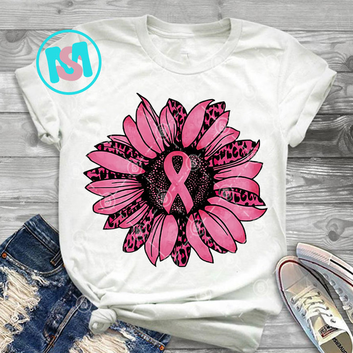 Leopard Sunflower Ribbon Breast Cancer Awareness PNG, Cancer PNG, Autism PNG,