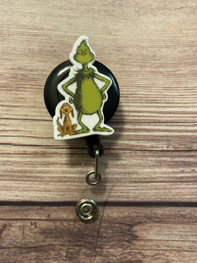 Handmade Grinch badge reel