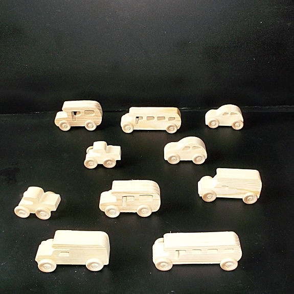 10 Handcrafted Wood Toy School Buses, Pickups, Cars   OT-16  unfinished or