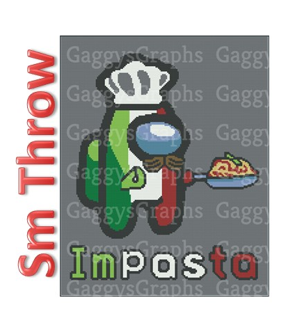 Impasta, SC Small Throw, SC, Graph+Written line by line color coded block