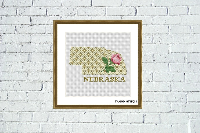 Nebraska floral state map silhouette ornament cross stitch pattern