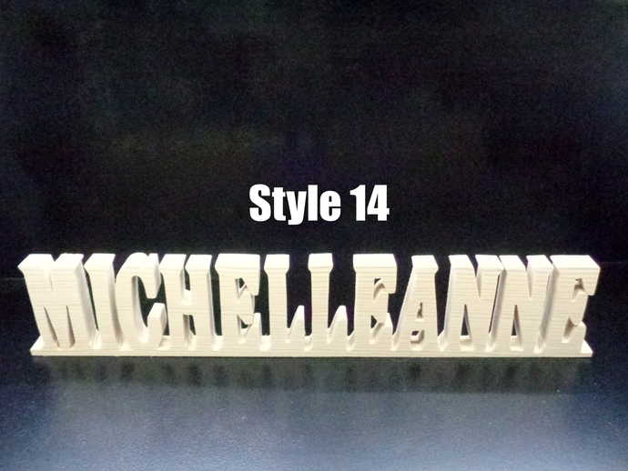 Name Sign 3 in . High x .75 in. thk 12 Letters Stand Alone  Unfinished  Wood
