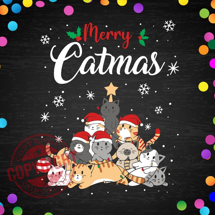 Bundledigital Merry Christmas SVG, Santa Cats SVG, Christmas SVG, Cats Lover