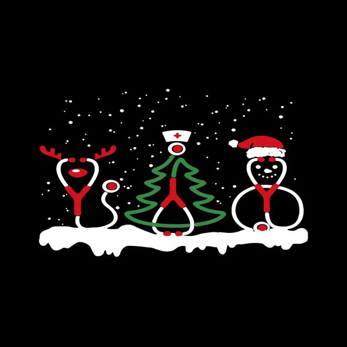 Christmas Nurse Crew Svg, Nursing Xmas Gift Svg, Stethoscope Reindeer Svg, Tree
