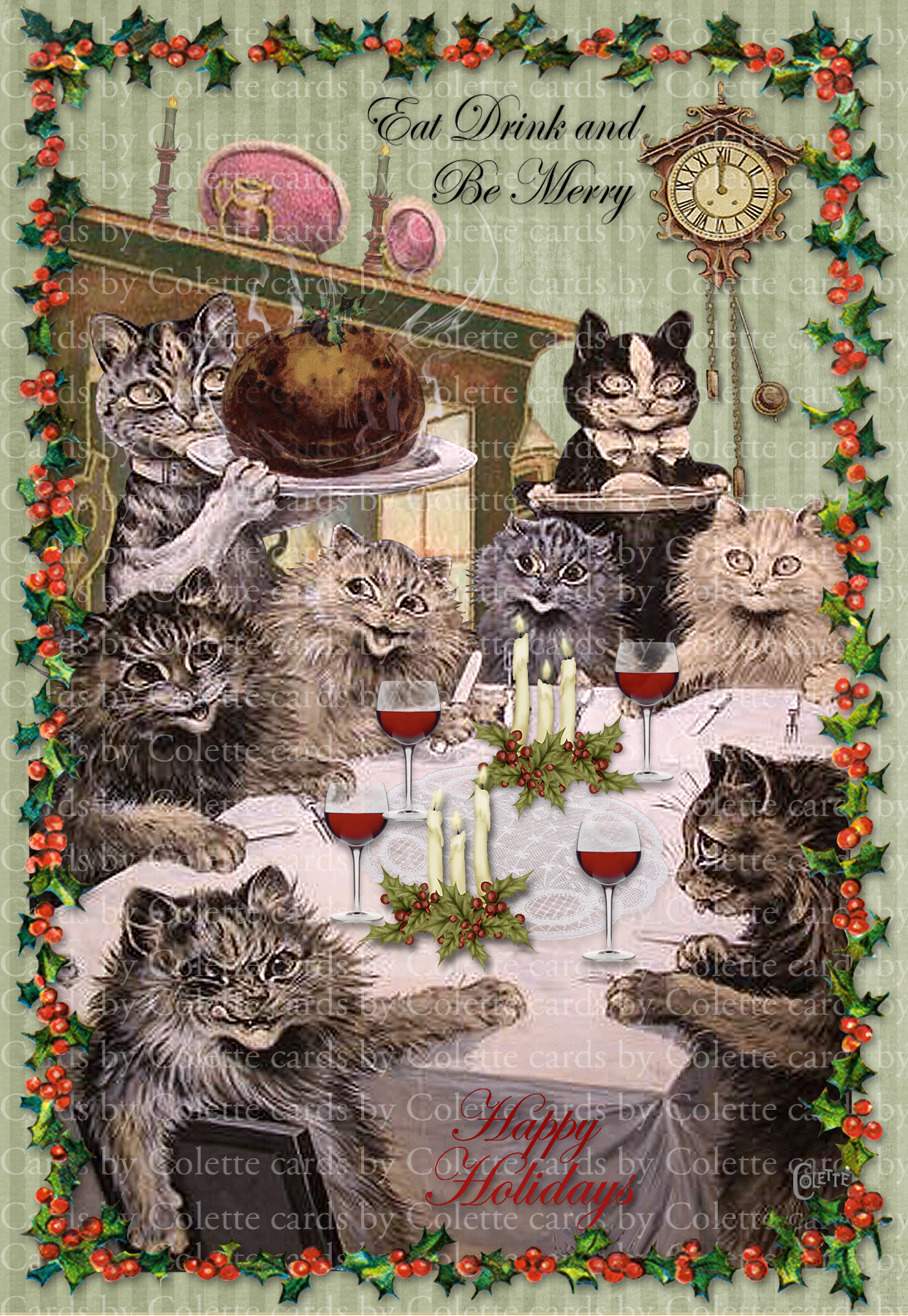 Eat Drink and Be Merry Digital Collage Greeting Card3100