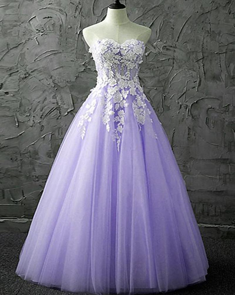 Lavender Tulle Beautiful Floor Length Prom Dress, Light Purple Junior Party