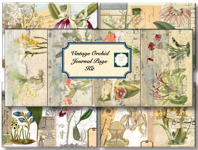 Vintage Orchid Journal Page Kit