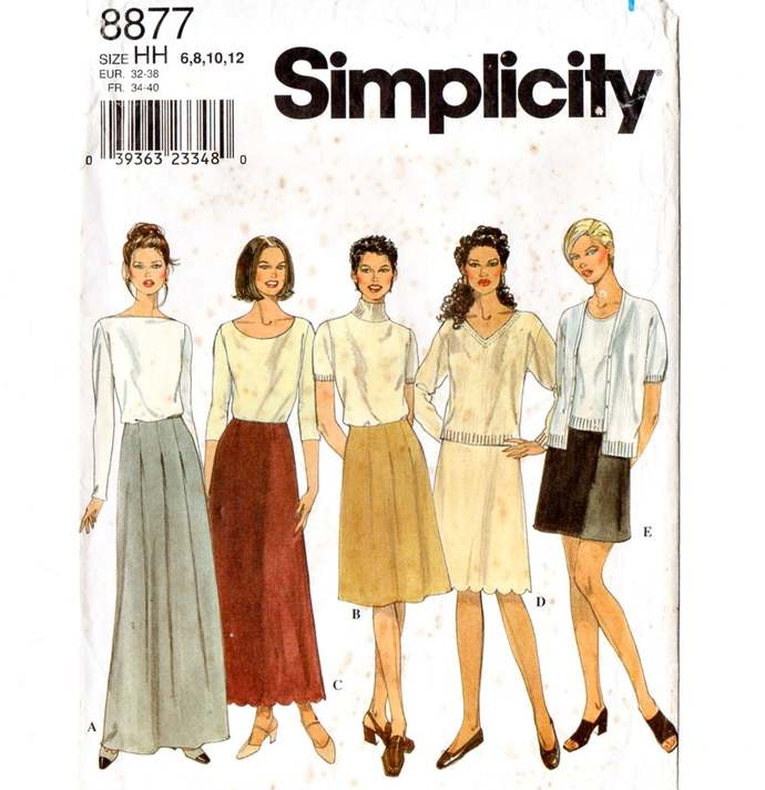Simplicity 8877 Misses Skirts Mini - Maxi 90s Vintage Sewing Pattern Uncut Size