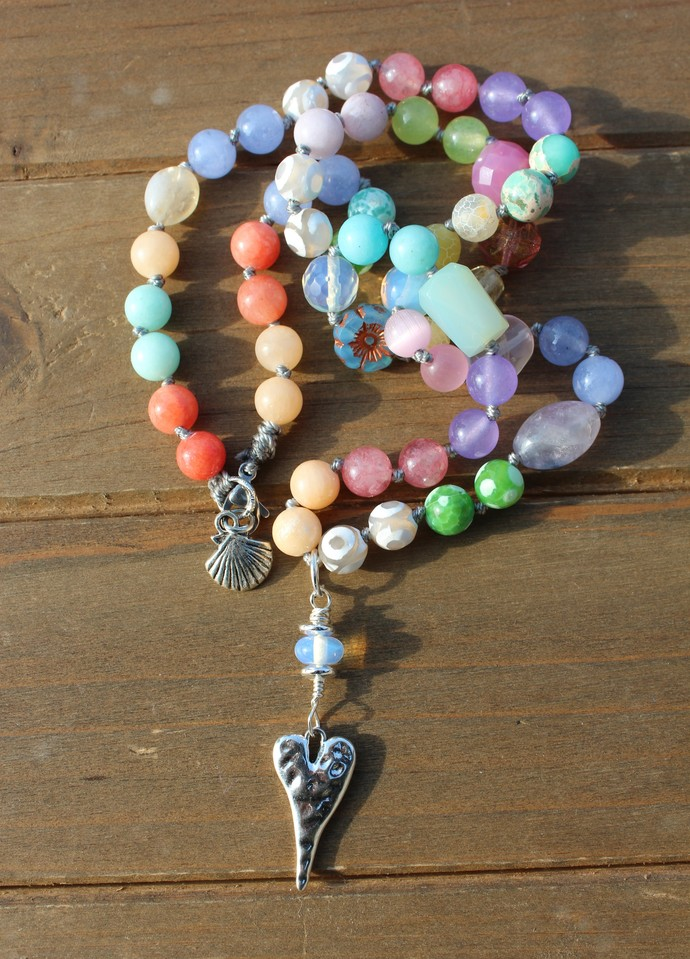 Pastel Multi-Gem Beaded Necklace, Heart Necklace, Jewelry gifts for her, by