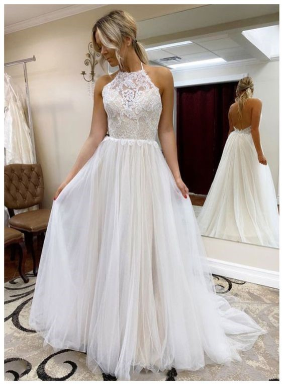 White Prom Dress,A-Line Prom Gown,Backless Evening Dress,Halter Prom Gown 031