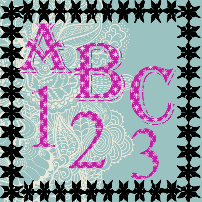 ABC and Numbers 17a-Digital ClipArt-Fonts-Art Clip-Snowflake-Gift