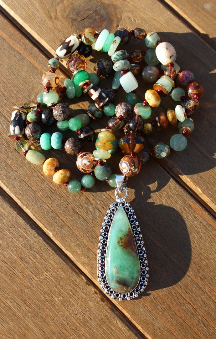 Aquaprase Necklace, Long Beaded Necklace, Bead necklace, Long Necklace,