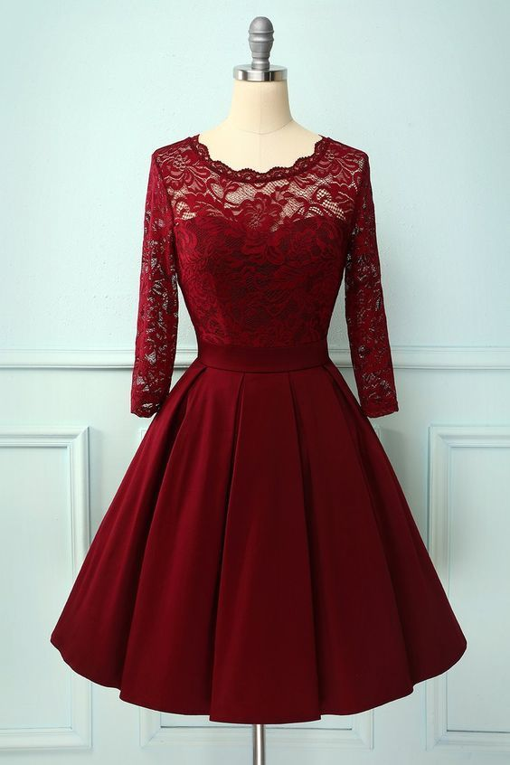 Burgundy long sleeves lace dress with V back  M7352