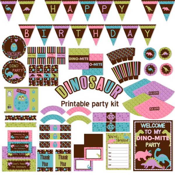 Dinosaur Printable Birthday Party Kit_Girl