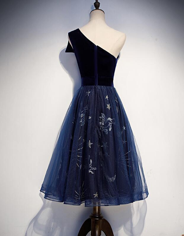 Lovely One Shoulder Knee Length Wedding Party Dress, Blue Tulle and Velvet Party