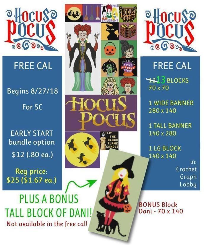 Hocus Pocus SC 17 Pattern Block Bundle includes graph with color block