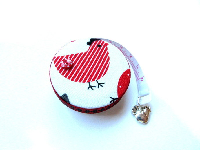 Tape Measure Black, Red and White Chickens Small Retractable Measuring Tape