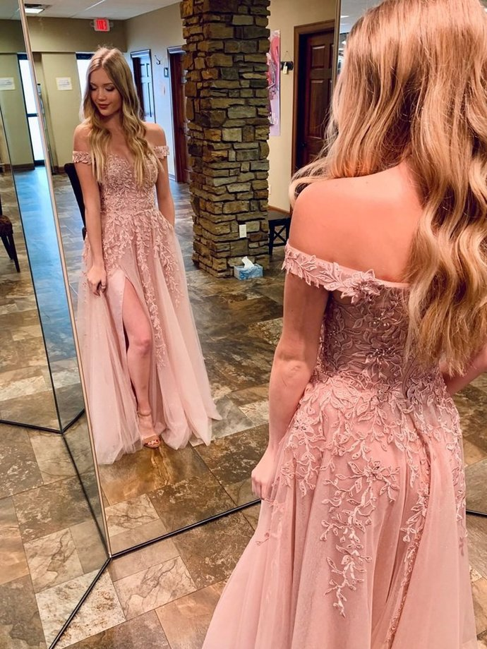 Beautiful Pink Tulle Off Shoulder Slit Long Party Dress, A-line Prom Dress 2021