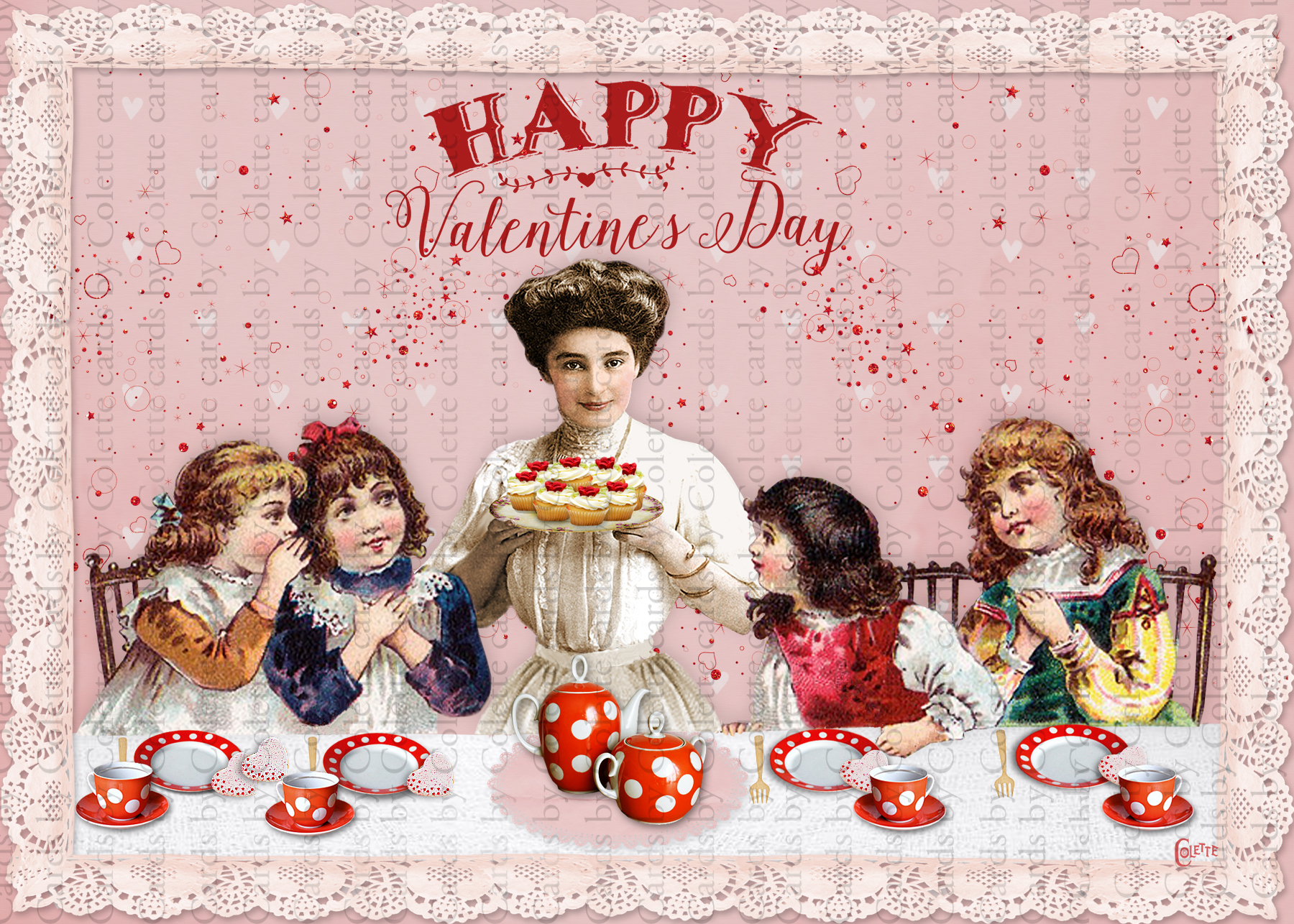Valentine Cupcake Party Digital Collage Greeting Card3108