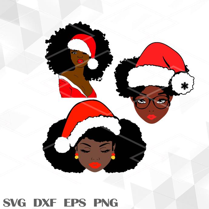 Happy Hollidays Black Girl SVG, Black SVG, Merry Christmas SVG, SVG EPS PNG