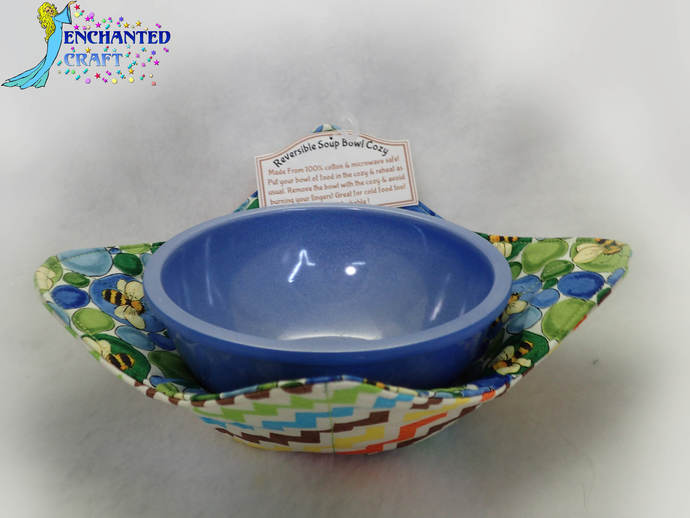 Cheerful microwave soup bowl cozy reversible easy to wash #handmade #MADEinUSA
