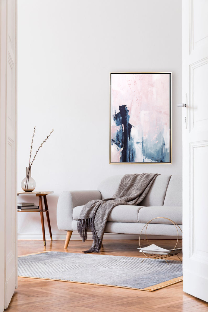 Pink and Navy Abstract Art, Large Pink and Indigo Painting, Modern Minimalist