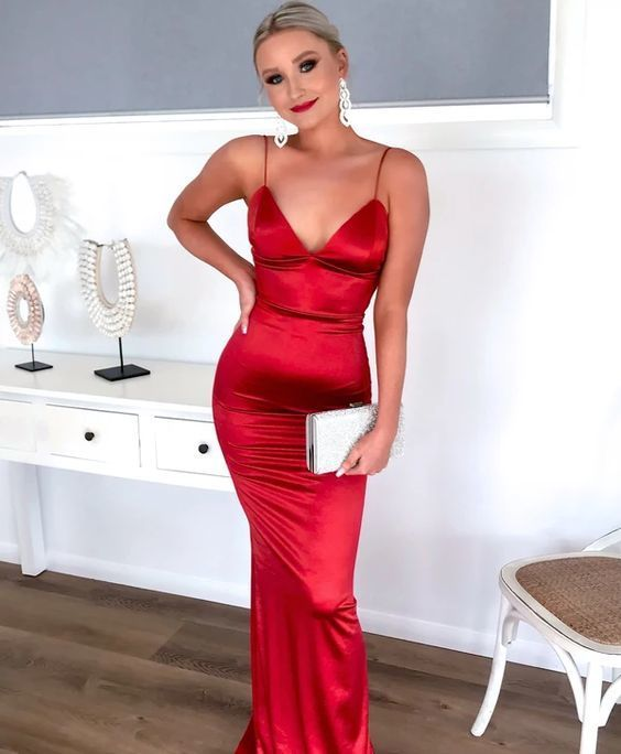 A-line Red Mermaid Prom Dress, Open Back Prom Dress M7458