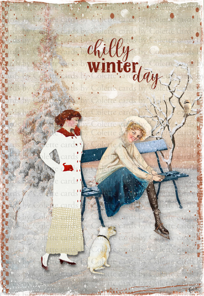 Chilly Winter Day Digital Collage Greeting Card3112