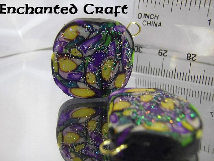 Polymer clay components- PAIR Mardi Gras style