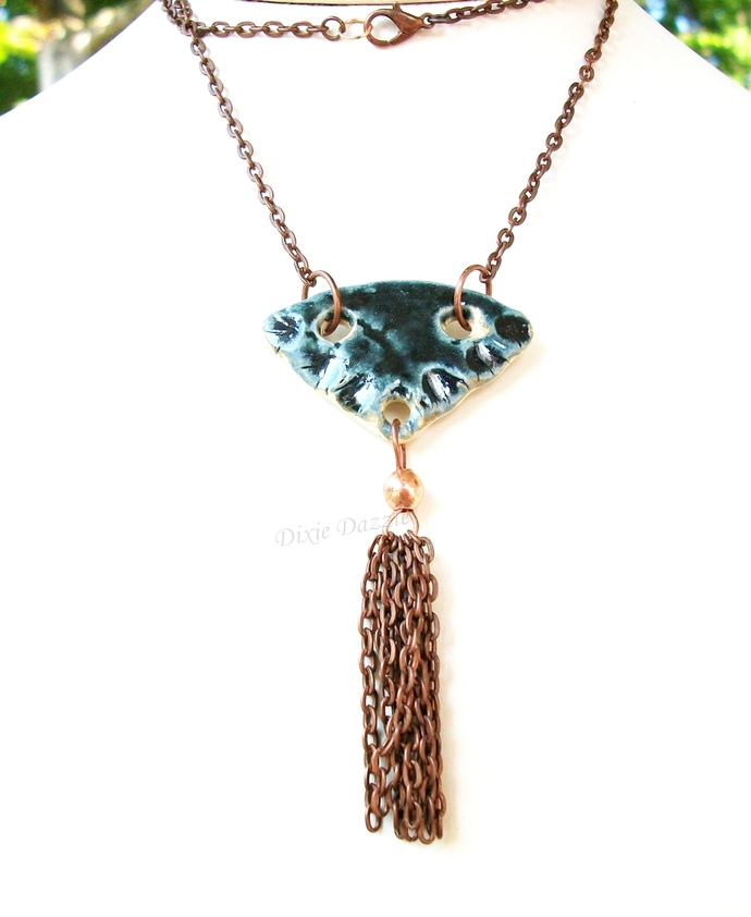 Blue ceramic tassel necklace, clay necklace, blue necklace, oil diffuser