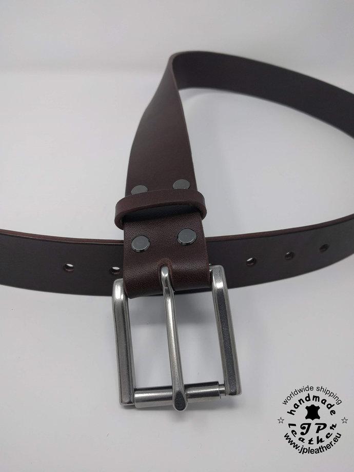 """Handmade brown fullgrain vegetable tanned cowhide leather belt 38mm (1.5"""")  -"""