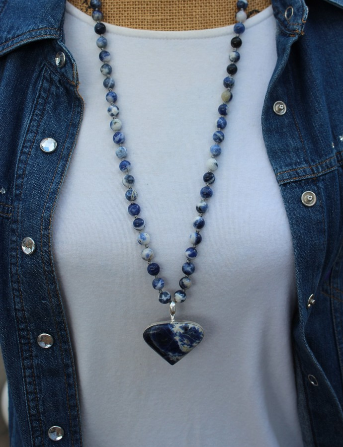 The Soothing Necklace, Sodalite Necklace with Pendant, Beaded Necklace, Long