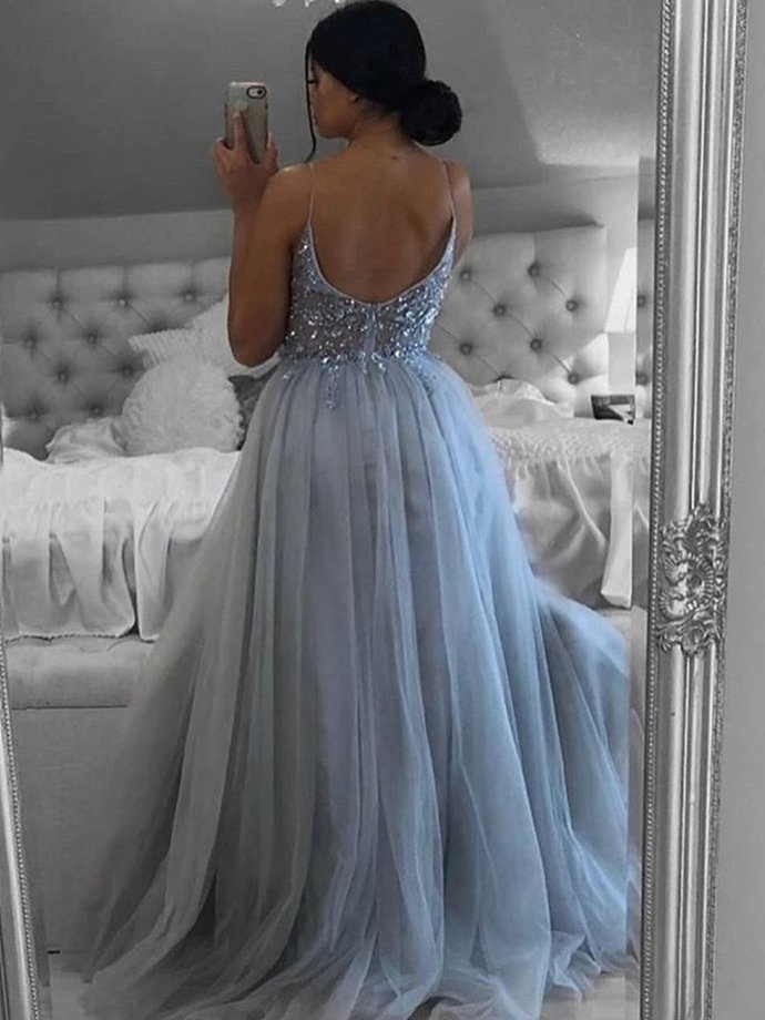 Charming Light Grey Beaded Straps Long Prom Dress, Sexy Slit A-line Tulle