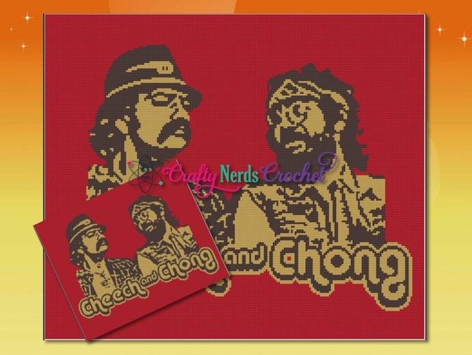Cheech And Chong 2 Tone Pattern Graph With Single Crochet Written