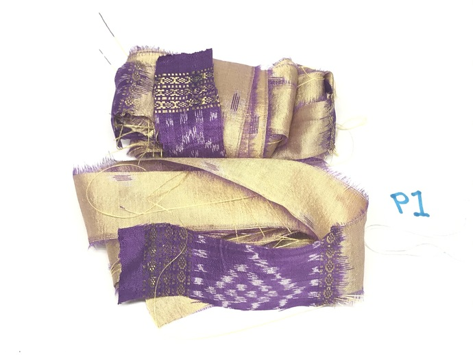 3 Yds SEAMLESS Vintage Indian Silk Sari Ribbon TAN and PURPLE 3 pcs  X 1 Yard