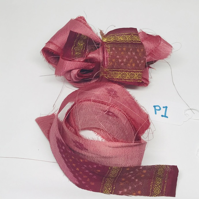 3 Yds SEAMLESS Vintage Indian Silk Sari Ribbon PINK MAROON MIX 3 pcs  X 1 Yard