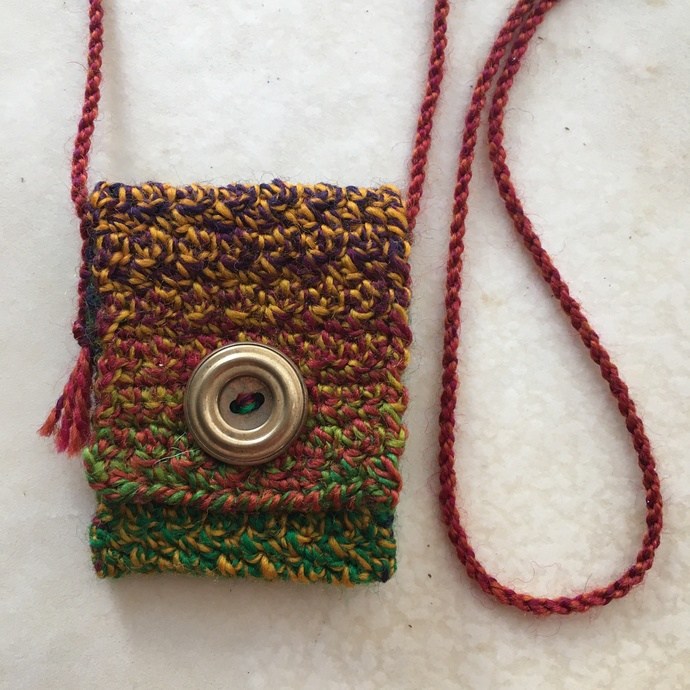 """Upside Down"" - a Hand Crocheted Wool Spirit Pouch"