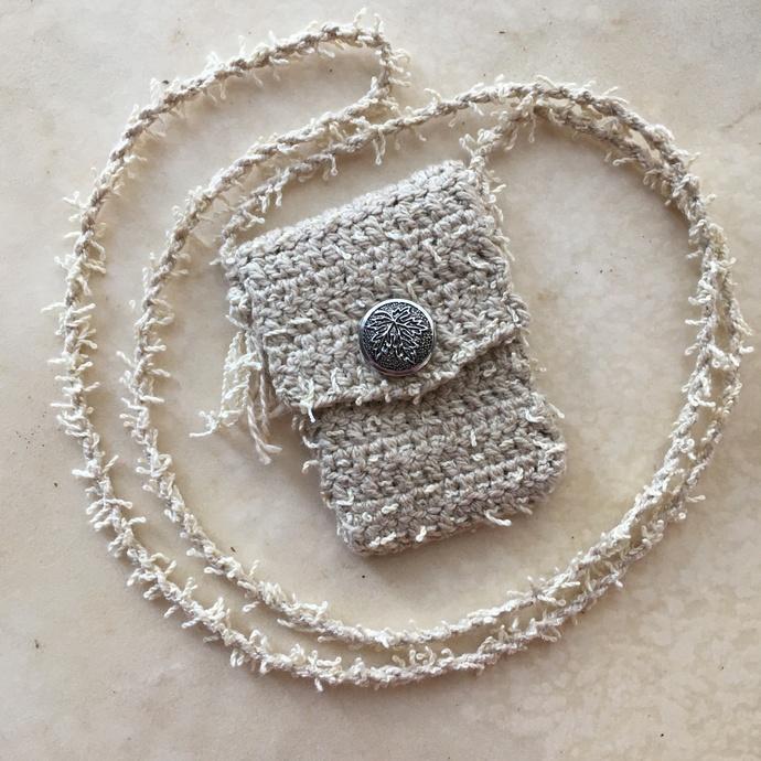"""Evolution"" - a crocheted, cotton Spirit Pouch"