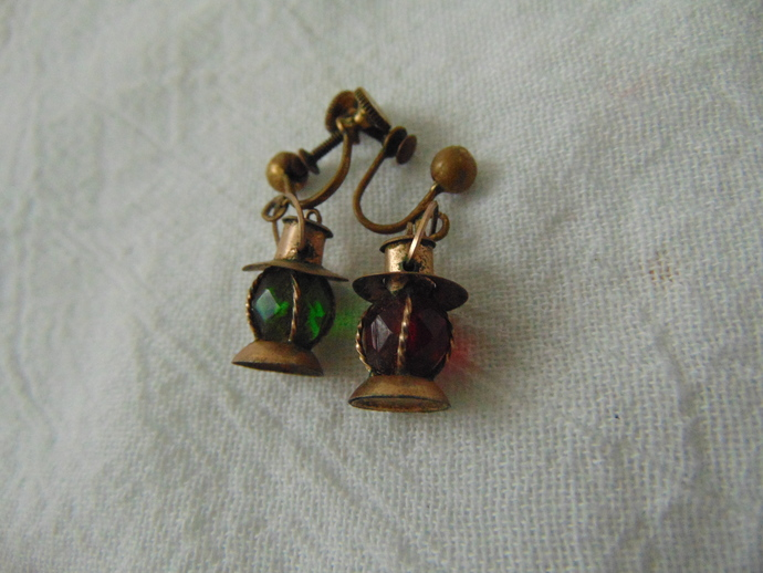 vintage brass red green crystal lantern screw back earrings