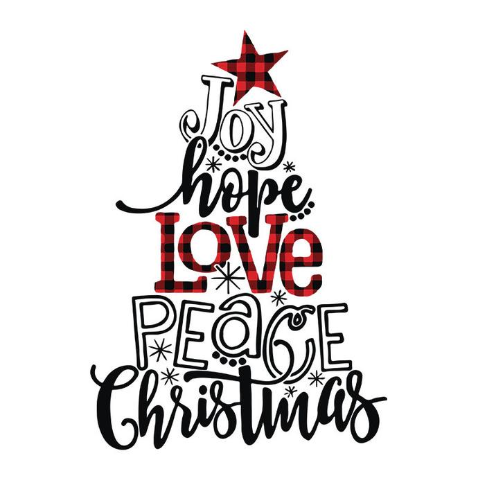Joy Hope Love Peace Christmas Buffalo Plaid Christmas Tree Svg, Christmas,
