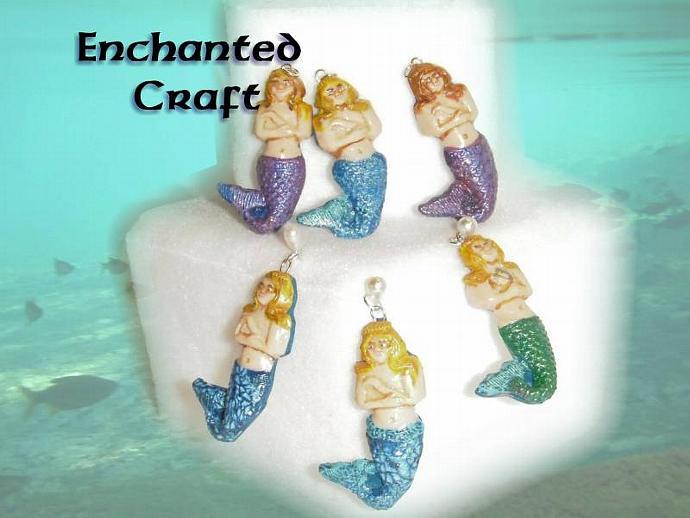 Blue Mermaid Pendant- polymer clay